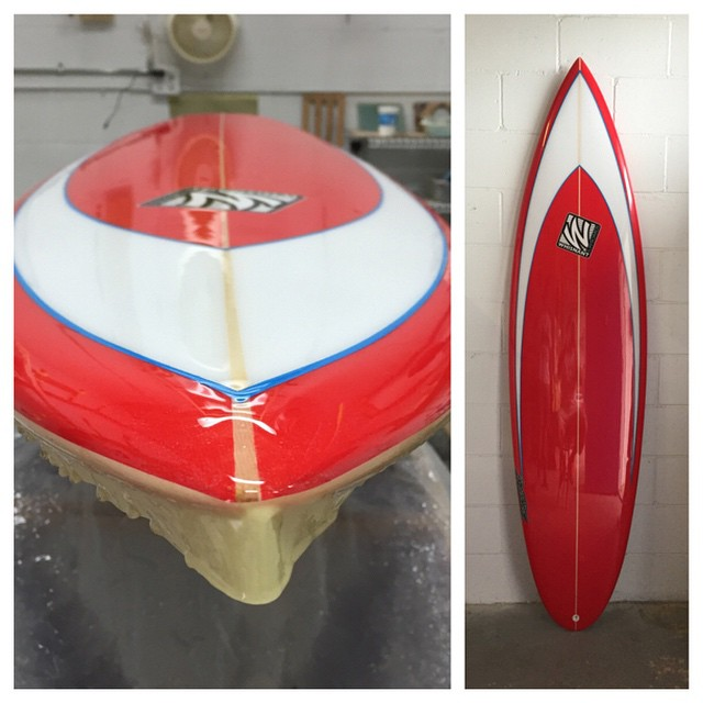 """6'10"""" big guy shortboard for Nels. Gloss polish with resin pinlines."""