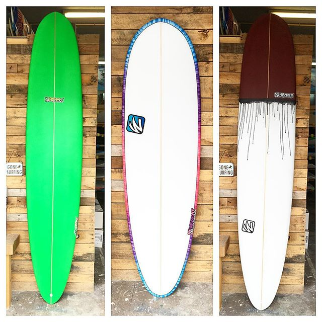 """A few longboards from last week. 2- 9'3"""" 's and a 6'2""""(the middle one)."""