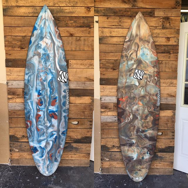 """Had so much fun doing these 2. Left is a 6'0"""" for my son Matt and right is a 6'10"""" for me. Taking them to PR Thanks to Chris  for all the pretty colors"""